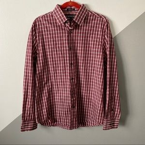 Express M Modern Slim Fit Dress Shirt Red Plaid